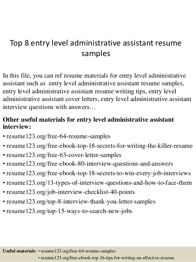 top entry level administrative assistant resume samples sample for summer job applicants Resume Entry Level Resume Samples