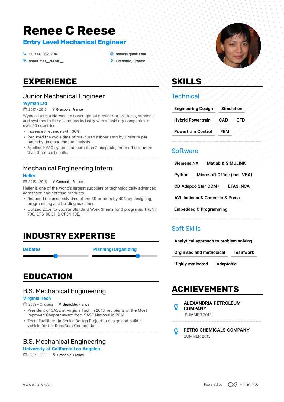 top entry level mechanical engineer resume examples expert tips enhancv good engineering Resume Good Mechanical Engineering Resume