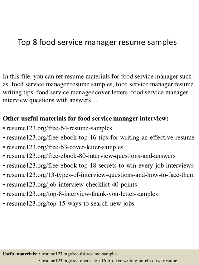 top food service manager resume samples good bullet points for examples customer retail Resume Food Service Manager Resume