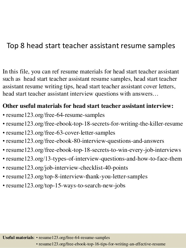top head start teacher assistant resume samples examples library technician template with Resume Teacher Assistant Resume Examples
