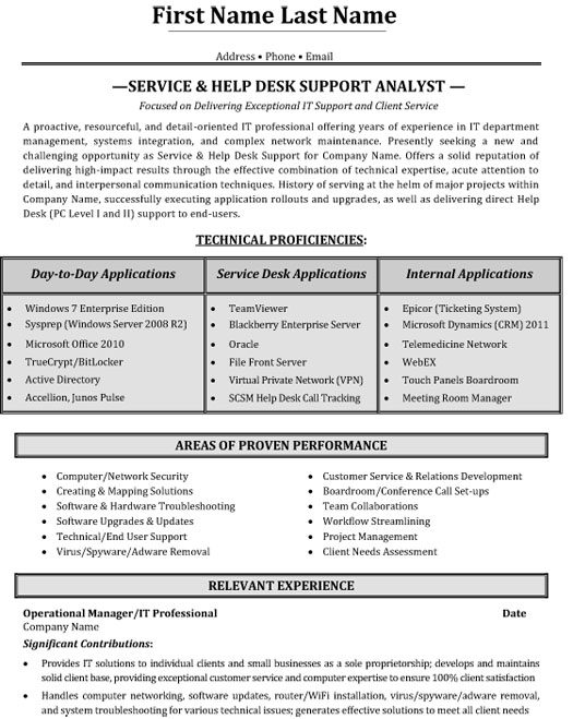 top help desk resume templates samples professional service support analyst sample Resume Professional Resume Help