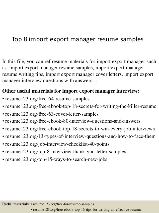 top import export manager resume samples executive auto parts delivery driver job Resume Resume Import Export Executive