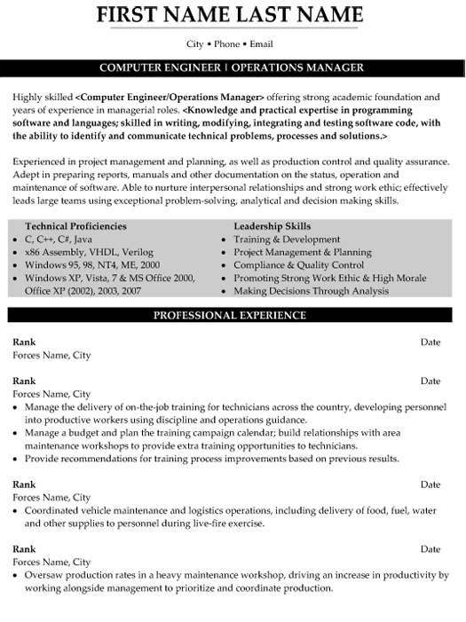 top military resume templates samples examples computer engineer operations manager Resume Military Resume Examples