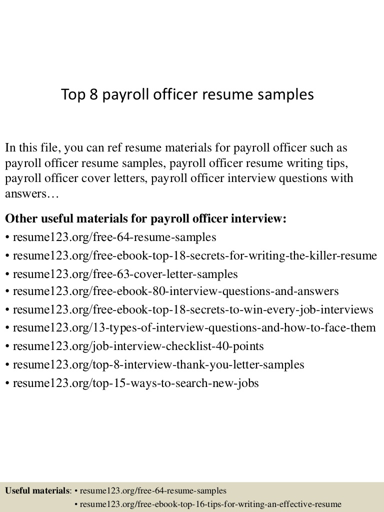 top payroll officer resume samples examples top8payrollofficerresumesamples conversion Resume Payroll Resume Examples