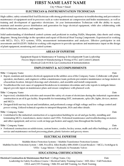 top trades resume templates samples for trade jobs electrician instrumentation technician Resume Resume For Trade Jobs