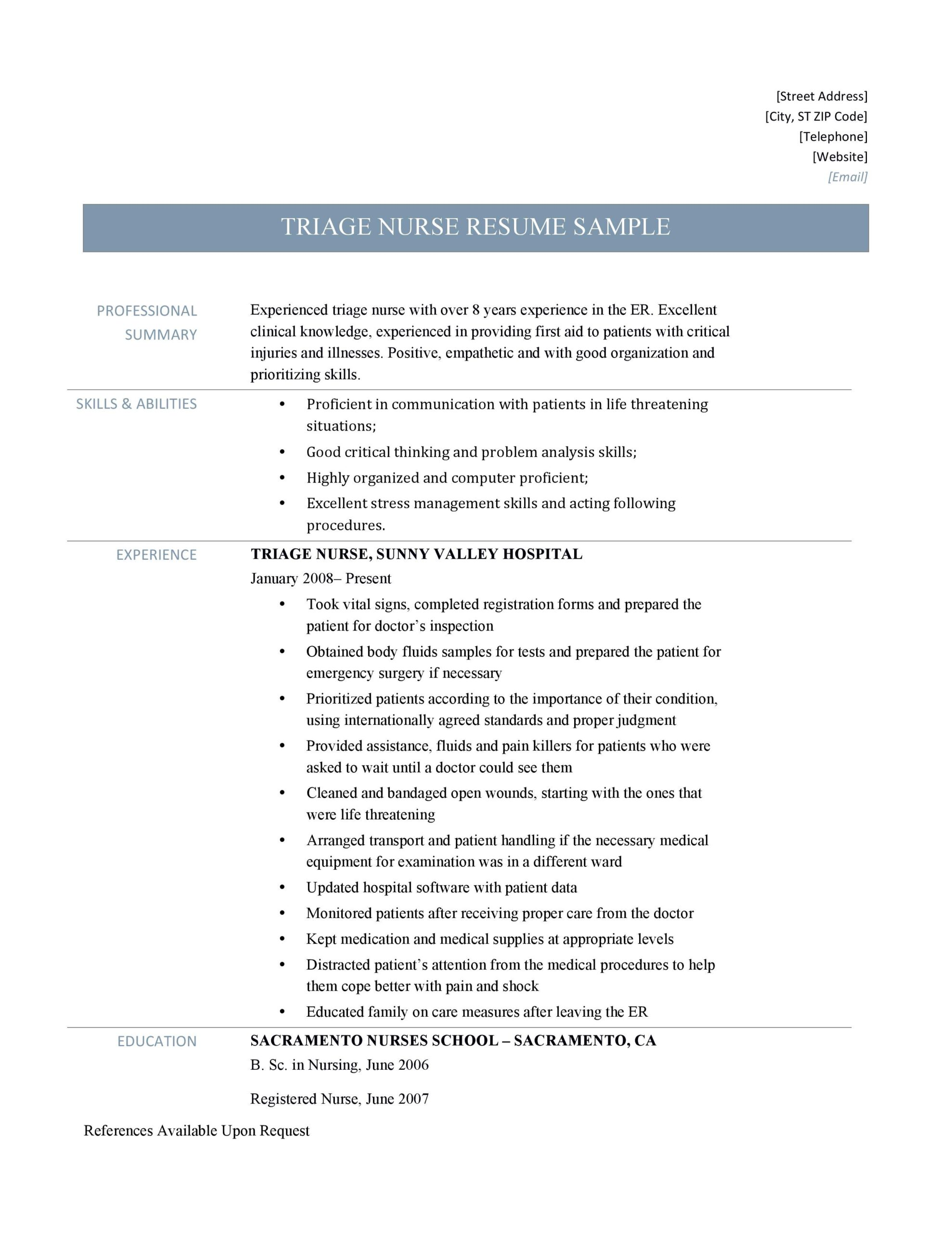 triage nurse resume sample and job description by builders medium examples for nursing Resume Resume Examples For Nursing Jobs