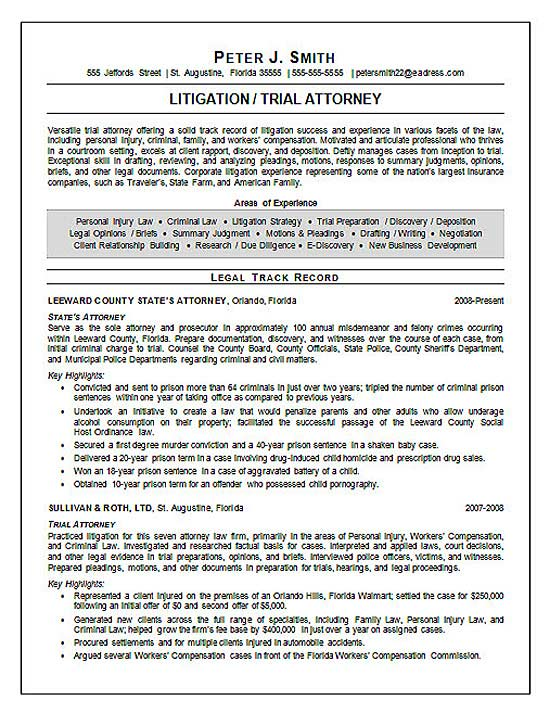 trial attorney resume example litigation experience s13a legal good summary statement for Resume Litigation Experience Resume