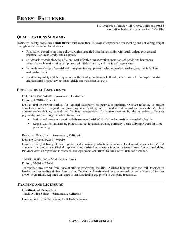 truck driver resume sample monster examples senior administrative assistant construction Resume Truck Driver Resume Examples