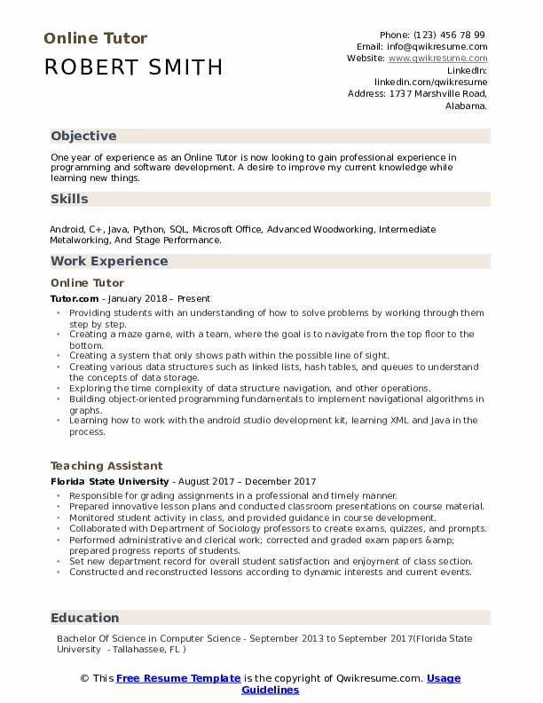 tutor resume samples qwikresume description pdf viper objective for culinary students Resume Tutor Resume Description