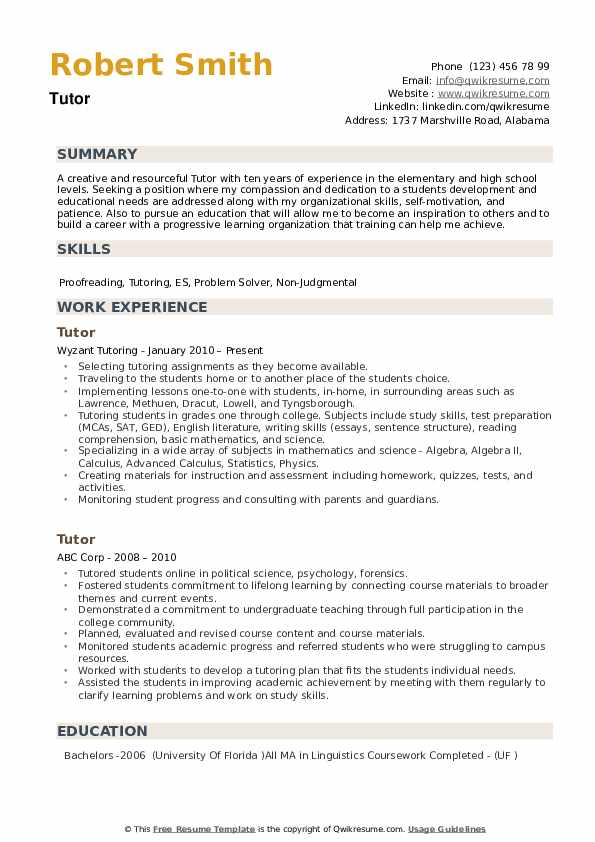 tutor resume samples qwikresume responsibilities of for pdf college student maker study Resume Responsibilities Of A Tutor For Resume