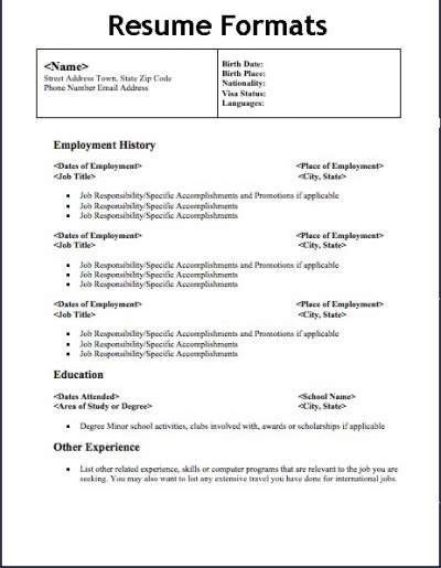 types of resume format in examples free different resumes samples architecture Resume Different Types Of Resumes Samples
