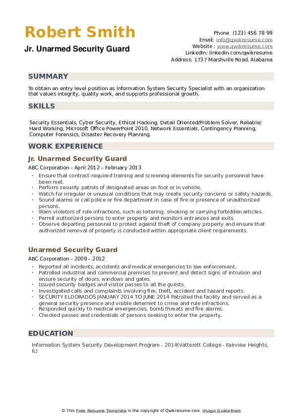 unarmed security guard resume samples qwikresume free templates pdf professional athlete Resume Free Security Resume Templates
