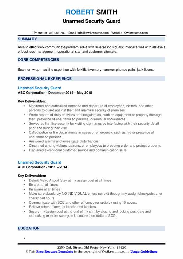 unarmed security guard resume samples qwikresume free templates pdf public health Resume Free Security Resume Templates