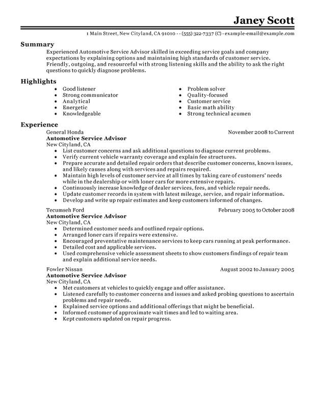 unforgettable automotive customer service advisor resume examples to stand out Resume Professional Summary Resume Sample
