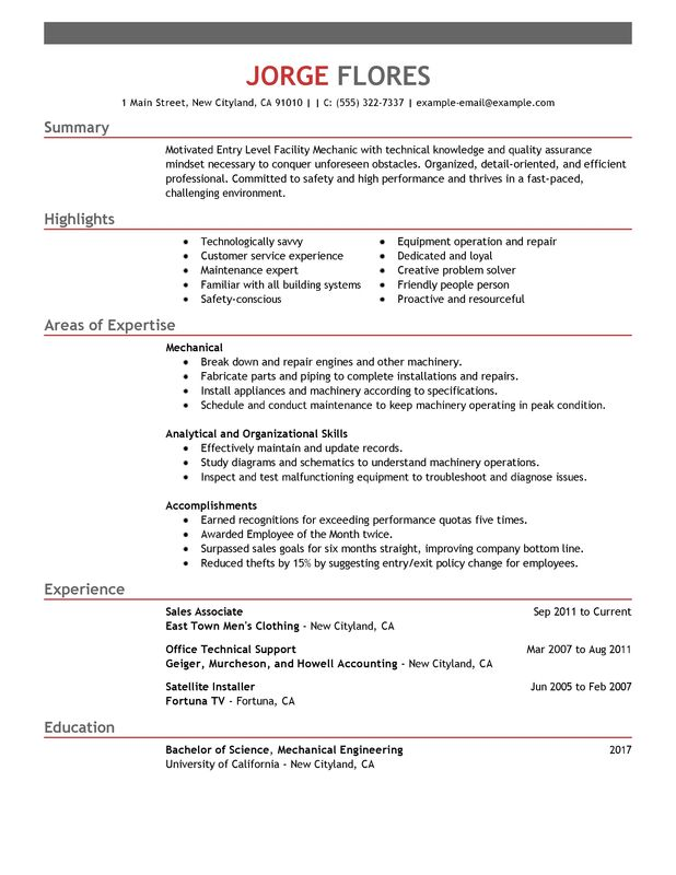 unforgettable entry level mechanic resume examples to stand out myperfectresume samples Resume Entry Level Resume Samples