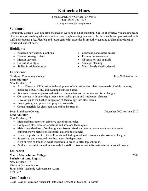 unforgettable lead educator resume examples to stand out myperfectresume education Resume Resume Education Section Examples