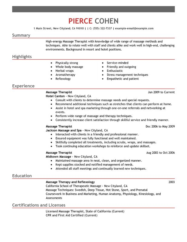 unforgettable massage therapist resume examples to stand out myperfectresume free Resume Free Massage Therapist Resume Template