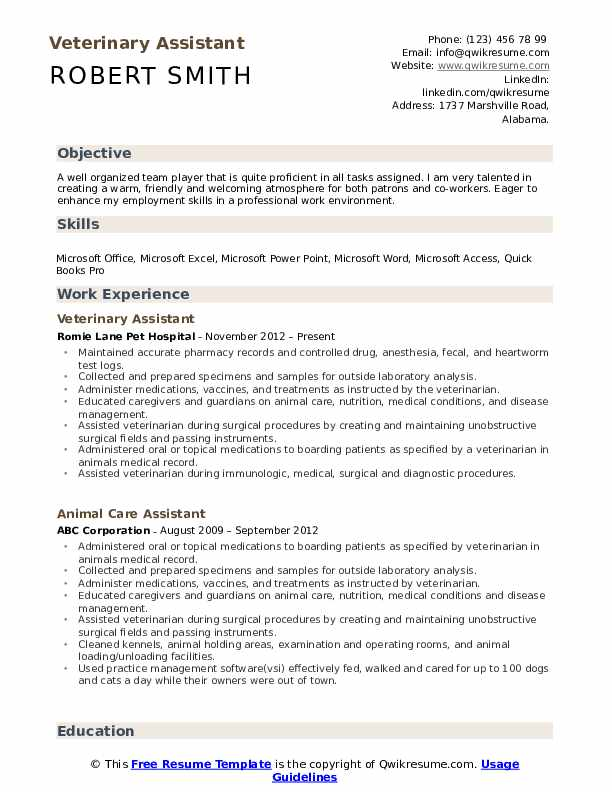 veterinary assistant resume samples qwikresume format for veterinarians pdf high school Resume Resume Format For Veterinarians