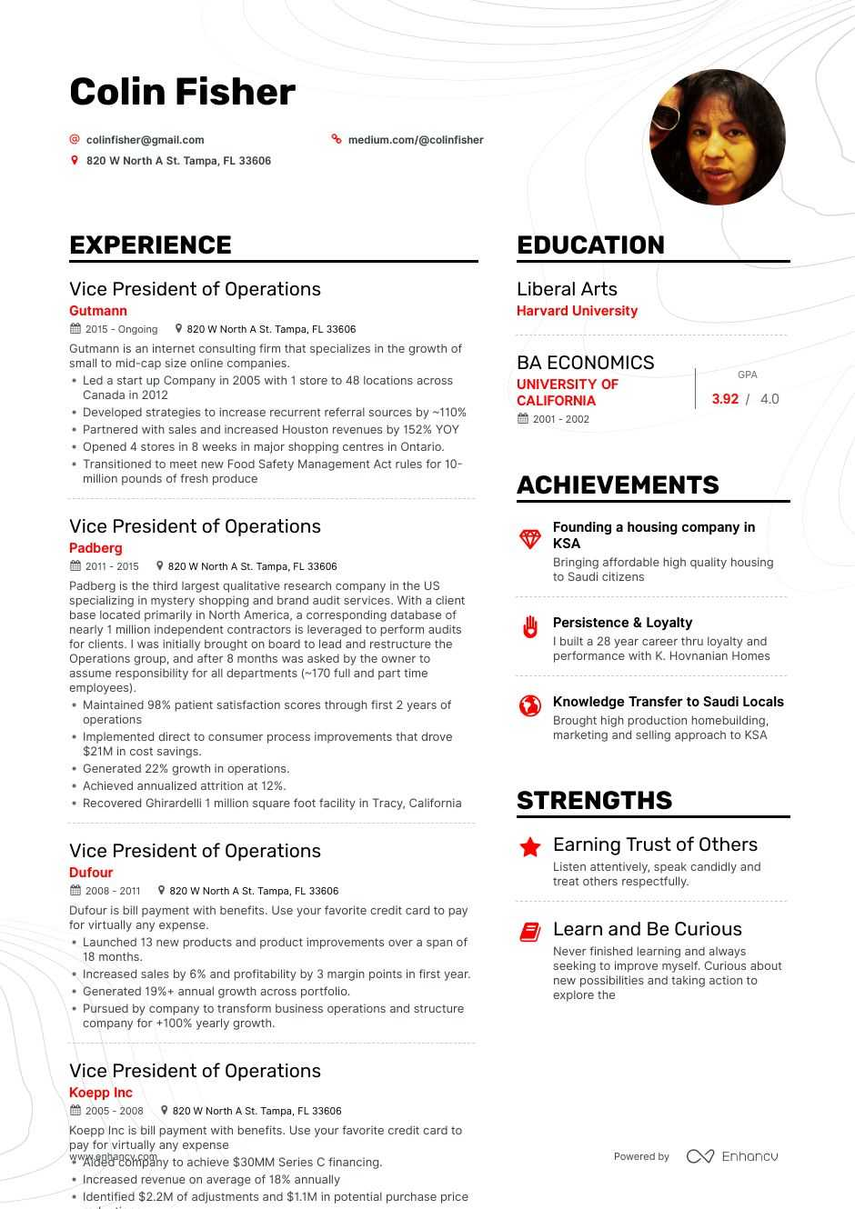 vice president of operations resume example for enhancv optical lab technician public Resume Vice President Of Operations Resume