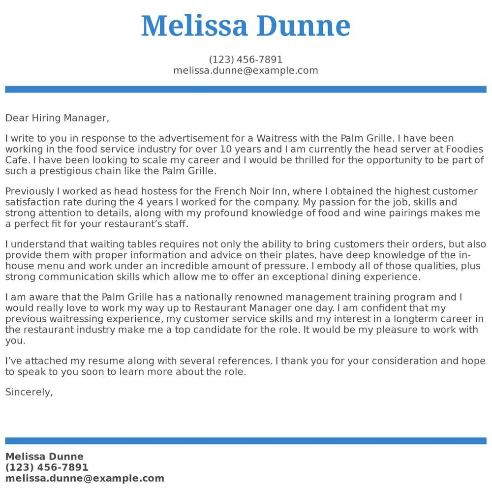 waitress cover letter examples samples templates resume with one term job entry level Resume Resume With One Long Term Job