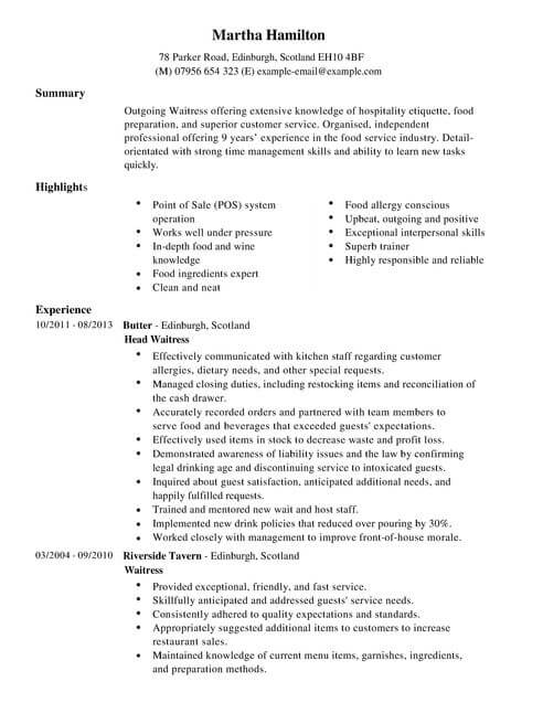 waitress cv template samples examples hospitality resume full cashier job description Resume Hospitality Resume Waitress