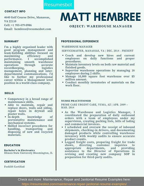 warehouse manager resume samples templates pdf resumes bot sample for worker example easy Resume Sample Resume For Warehouse Worker
