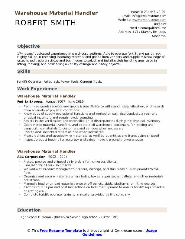 warehouse material handler resume samples qwikresume pdf parse definition project Resume Warehouse Material Handler Resume