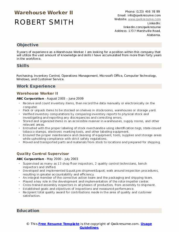 warehouse worker resume samples qwikresume template pdf create professional technical Resume Warehouse Worker Resume Template
