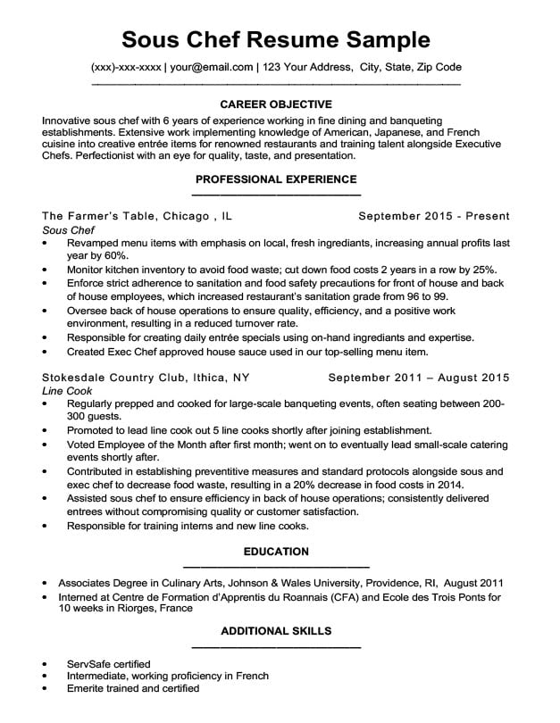 with chef resumes samples resume format sous sample writing functional generic cover Resume Sous Chef Resume Sample