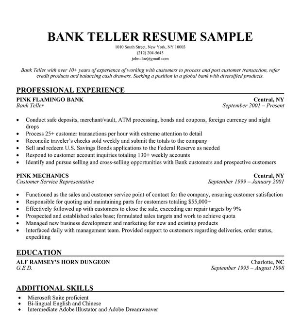 with resume samples format professional personal assistant medical student clerical Resume Professional Teller Resume