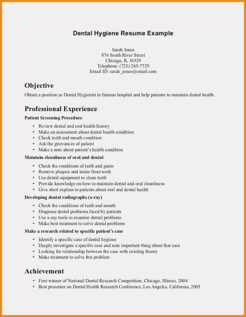 writing tips to make resume objective with examples dental hygienist hygiene templates Resume Free Dental Resume Templates
