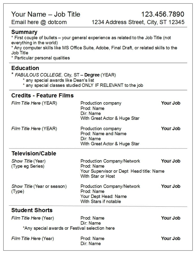 your credits by media not department robyn coburn résumé review film industry resume Resume Film Industry Resume Template