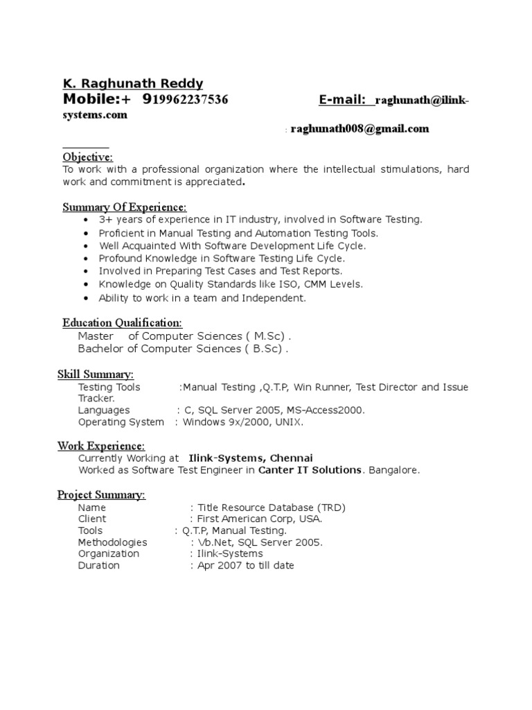 yrs exp in testing resume software information technology selenium for years experience Resume Selenium Testing Resume For 2 Years Experience