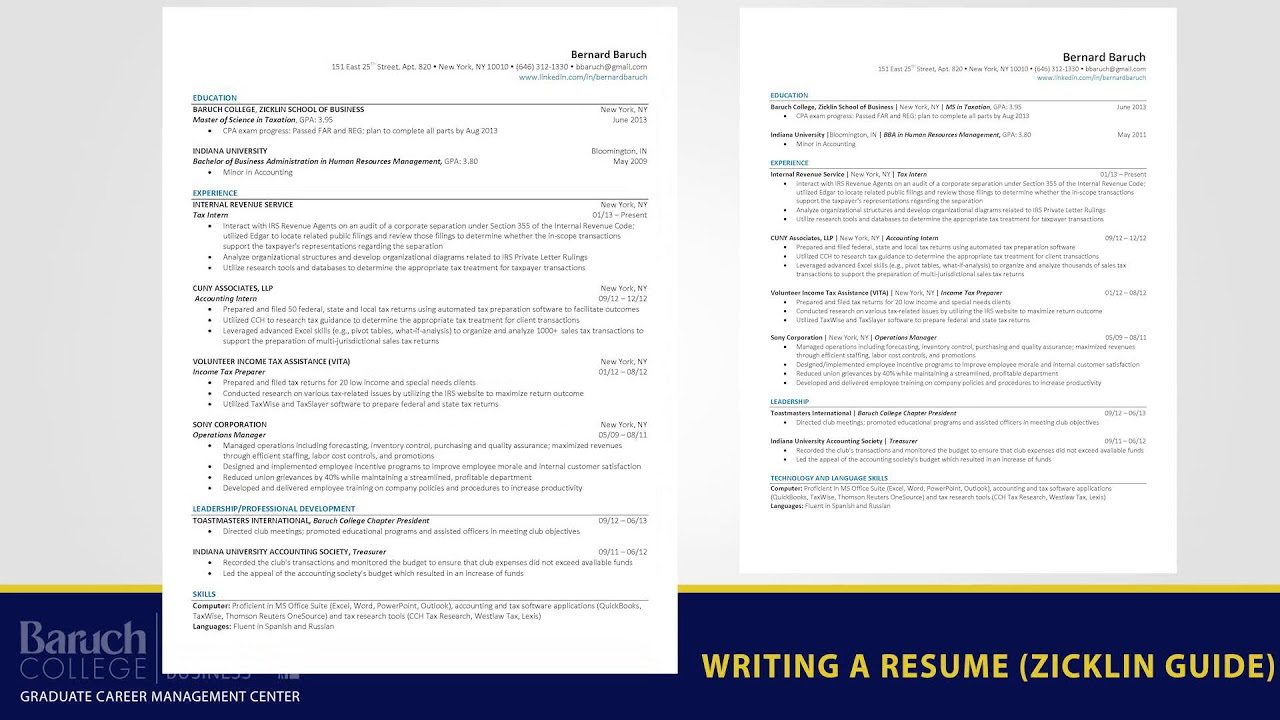zicklin gcmc the blog best practices writing resume baruch college template marissa mayer Resume Baruch College Resume Template