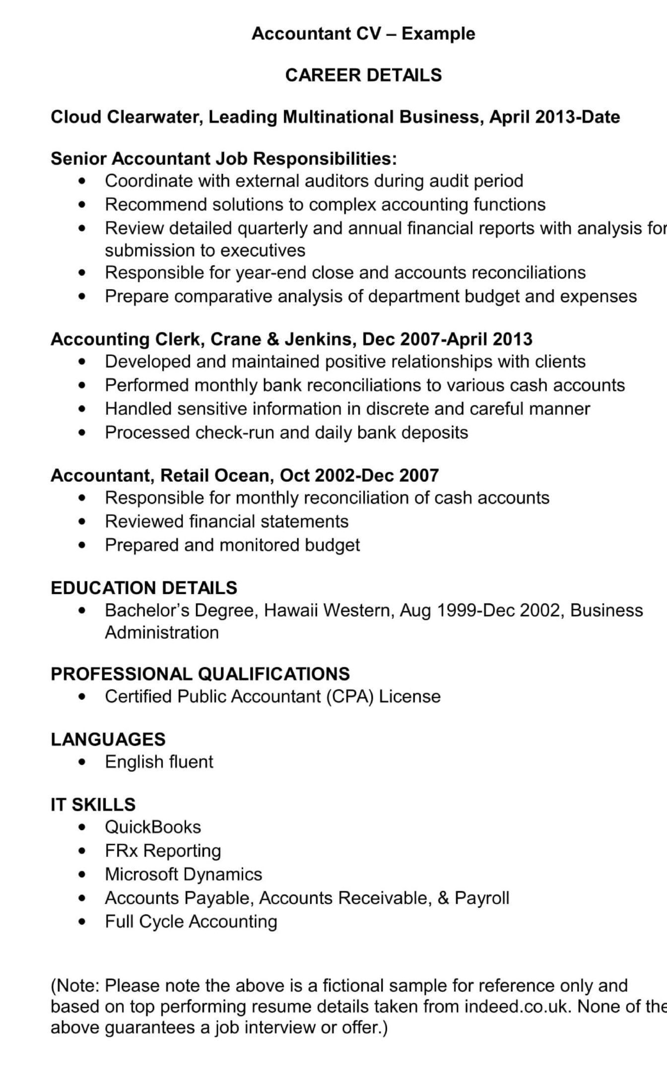 accountant cv template and examples renaix job description for resume scaled retail Resume Accountant Job Description For Resume