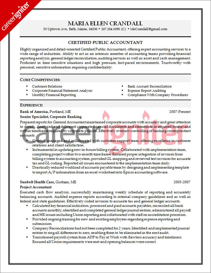 accounting resume sample career igniter accountant cover letter for core competencies Resume Core Competencies For Accounting Resume