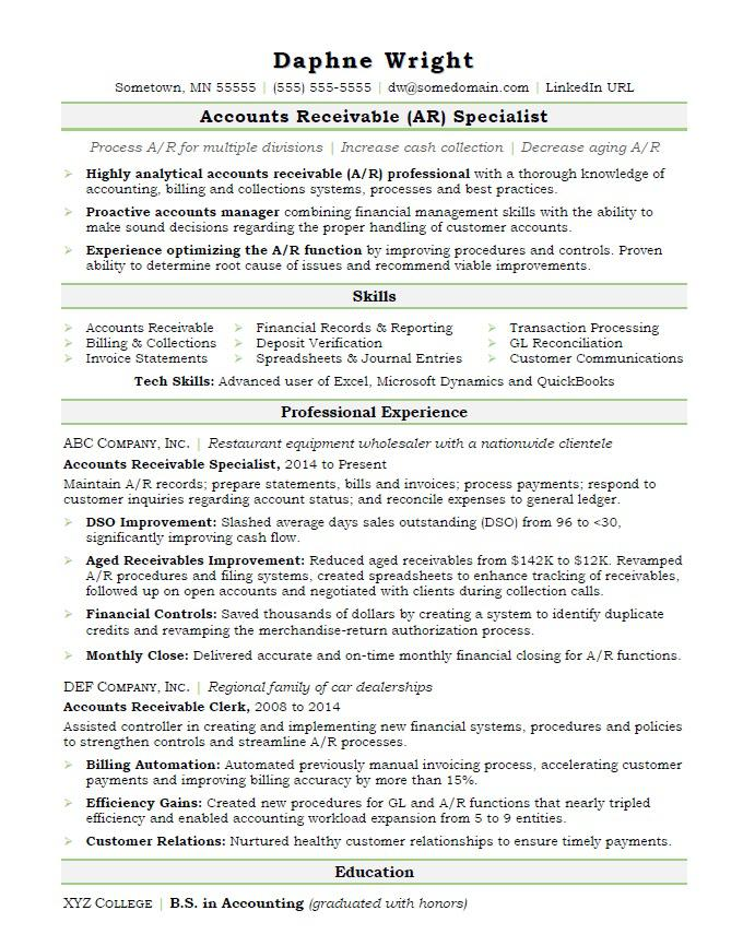 accounts receivable resume sample monster collection profile good construction client Resume Collection Profile Resume