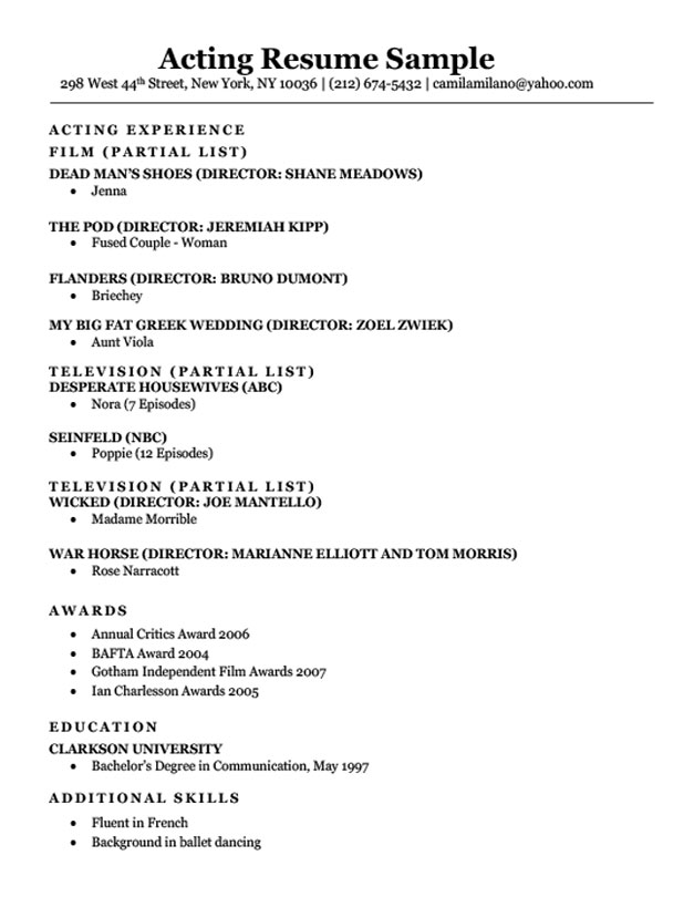 acting resume example ipasphoto entertainment examples sample jobing soccer cover letter Resume Actors Resume Example