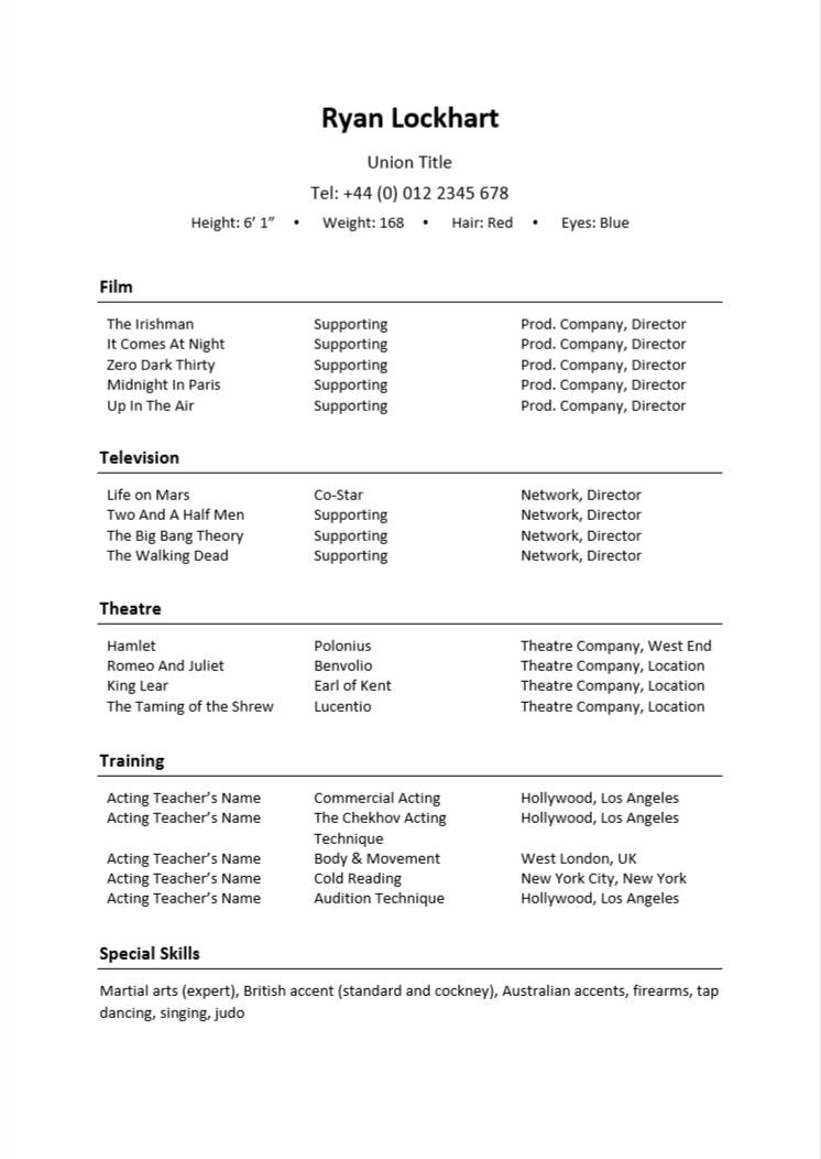 acting resume examples writing guide cv nation actors example estimator project manager Resume Actors Resume Example