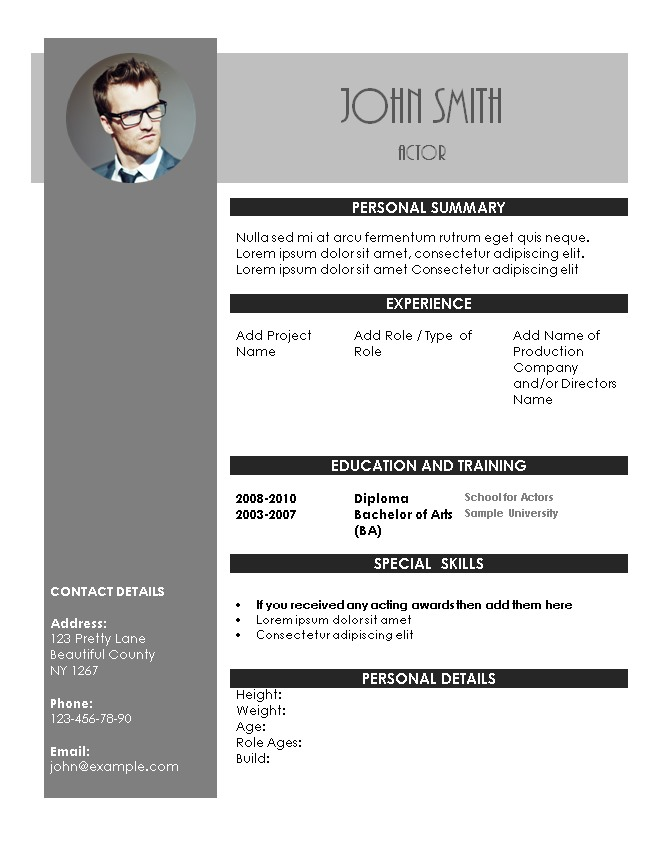 acting resume template actors example best executive assistant examples for resident Resume Actors Resume Example
