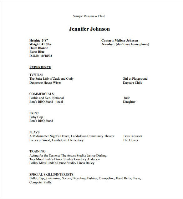 acting resume template free word excel pdf format premium templates child dance for Resume Child Dance Resume For Audition