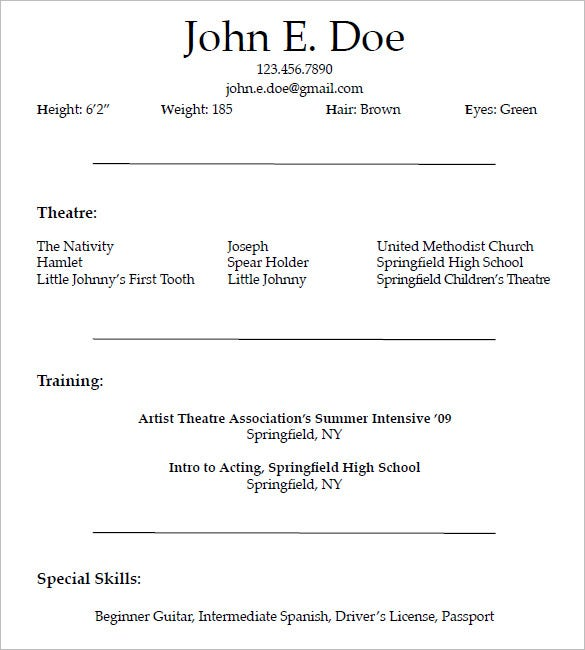 acting resume templates free samples examples formats premium beginner actor template for Resume Beginner Actor Resume Template