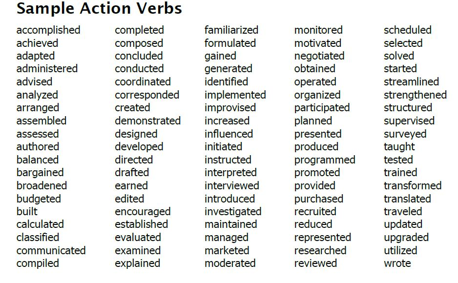 action verbs for middle school style strong resume sample indesign template diesel Resume Strong Verbs For Resume