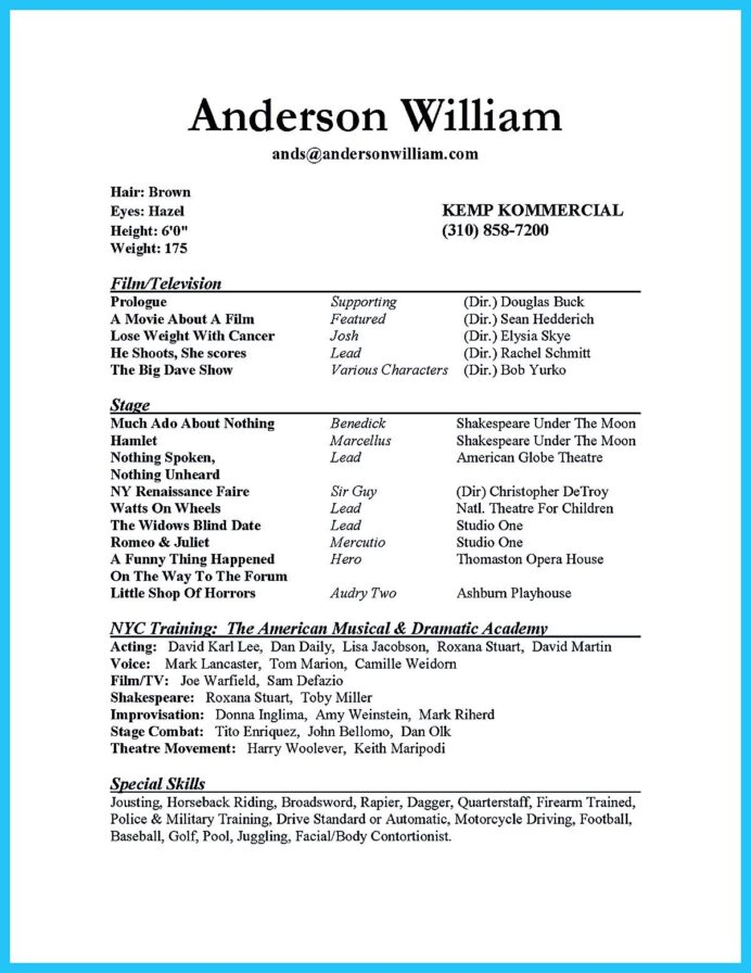 actor resume sample presents you make your professional or beginner the acting template Resume Beginner Actor Resume Template