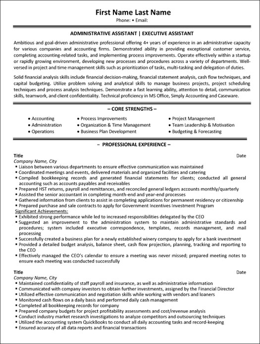 administrative assistant resume sample template executive examples for cognos report Resume Executive Assistant Resume Examples
