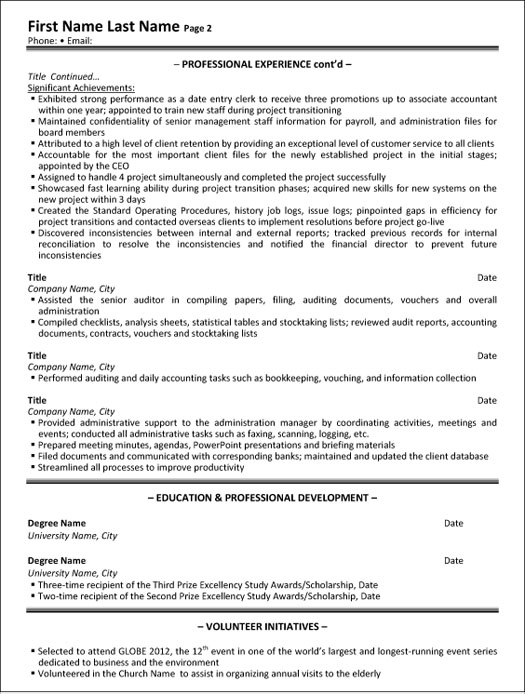 administrative assistant resume sample template professional executive p2 limited listing Resume Assisted Synonym Resume