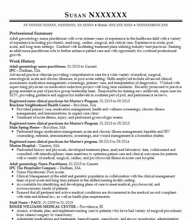 adult nurse practitioner resume example concentra and acmg clinics rotating internal Resume Sample Nurse Practitioner Resume