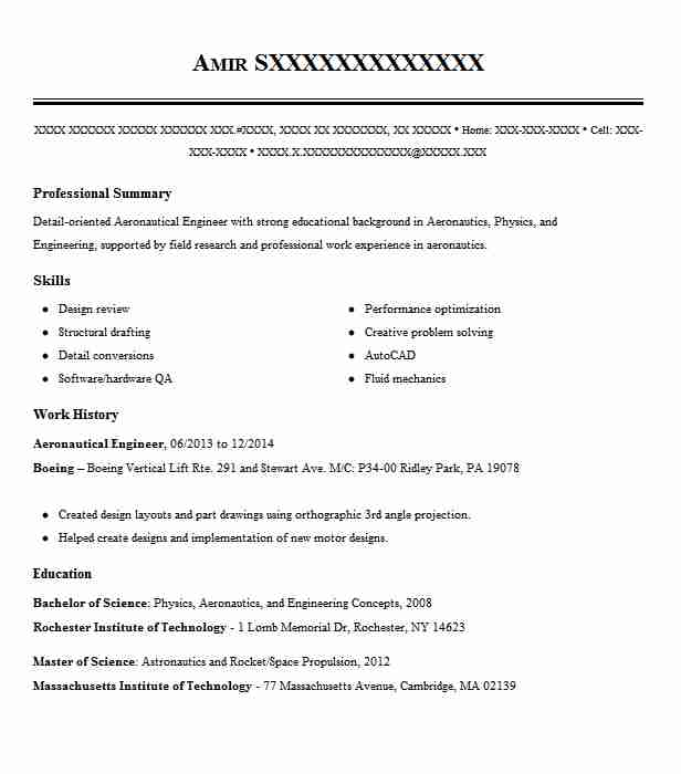 aeronautical engineer resume example engineering resumes livecareer aerospace student Resume Aerospace Engineering Student Resume