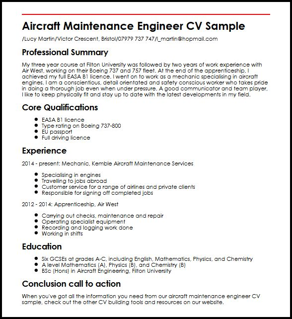 aircraft maintenance engineer cv example myperfectcv resume sample general objective Resume Perfectionist Synonym For Resume