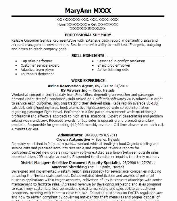 airline reservation agent resume example livecareer ticketing executive director of Resume Ticketing Executive Resume